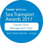 "Capital Ship Management Corp. is Awarded the ""Best Vessel Operator – Europe"" Sea Transport Award 2017"