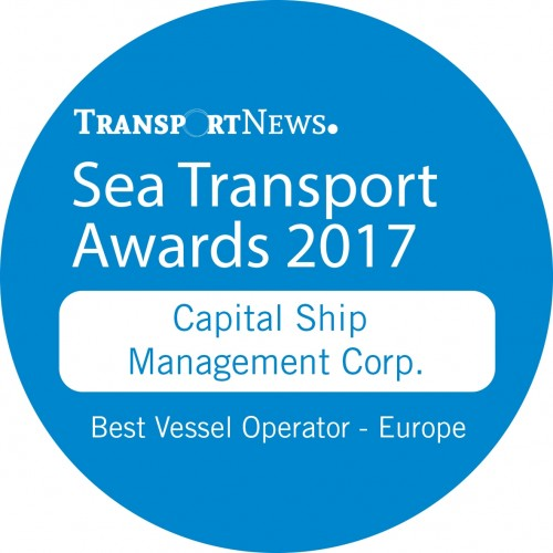 """Capital Ship Management Corp. is Awarded the """"Best Vessel Operator – Europe"""" Sea Transport Award 2017"""