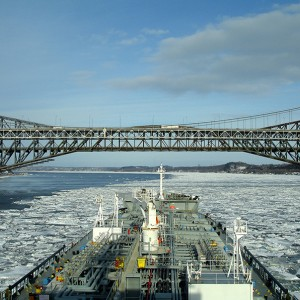 M/T 'Agisilaos' at the ice covered Canadian port of Quebec.