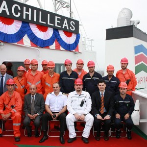 Delivery ceremony of M/T Achilleas at Universal Shipbuilding Corporation at the Ariake Shipyard in Japan on June 25, 2010.