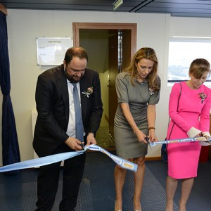 Delivery ceremony of M/V 'Akadimos' at Daewoo-Mangalia Heavy Industries S.A., Romania on June 5, 2015, in the presence of Mr. Vangelis Marinakis. The vessel is under time charter to CMA CGM. For the duration of its charter the vessel has been renamed to 'CMA CGM Amazon'.