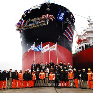 Delivery ceremony of M/T Alexandros II at STX Shipbuilding Co., Ltd;, South Korea on January 29, 2008. The vessel is under bareboat charter to OSG. For the duration of the charter it has been renamed to 'Overseas Serifos'.