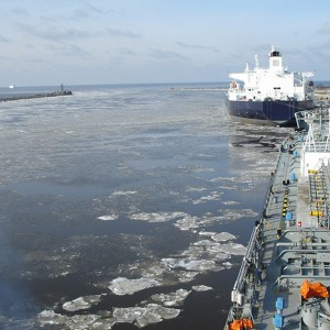 M/T 'Agisilaos' at the ice covered Lithuanian port of Klaipeda in the Baltic Sea.