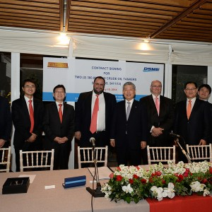 Contract signing ceremony with DSME for two 300,000 DWT VLCCs, on February 2014, in the presence of Mr. Vangelis Marinakis.
