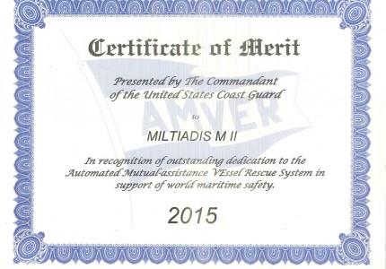 Amver Certificate of Merit - M/T 'Miltiadis MII'