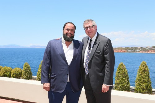Capital Maritime & Trading Corp. Chairman Evangelos Marinakiw with the ABS Chairman, President and CEO Christopher J. Wiernicki