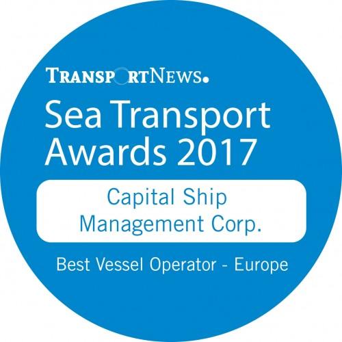 """Η Capital Ship Management Corp. έλαβε το βραβείο  """"Best Vessel Operator – Europe"""" από τα Sea Transport Awards 2017"""