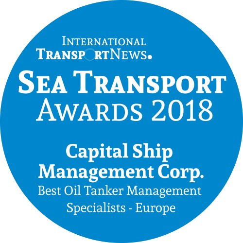 "Capital Ship Management Corp. is Awarded the ""Best Oil Tanker Management Specialists – Europe"" Sea Transport Award 2018"