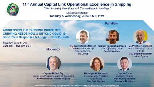 """Capital Link 11th Annual Operational Excellence in Shipping Forum """"Addressing the Shipping Industry's Crewing Needs Now & Beyond Covid-19""""."""